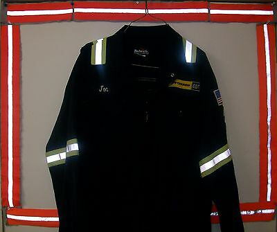 "Coverall Flame Resistant & Reflective Striped Bulwark Size 46LN 31"" Navy Blue"