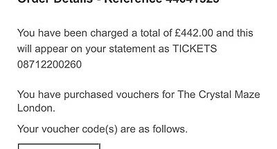 Crystal Maze Experience 7 Tickets Open Ended Date Gift Voucher!