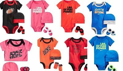 Nike Baby Girl Boy 3 Piece Gift Set Bodysuit Booties Beanie Hat 0-6 MO Romper