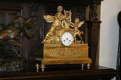 French Empire  Gilded Figural Bronze   Mantel Clock 19C. Angel, Putti
