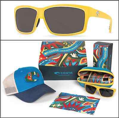 New COSTA DEL MAR Cut Polarized Sunglasses Yellow / Gray 580 + Hat & Cloth USA