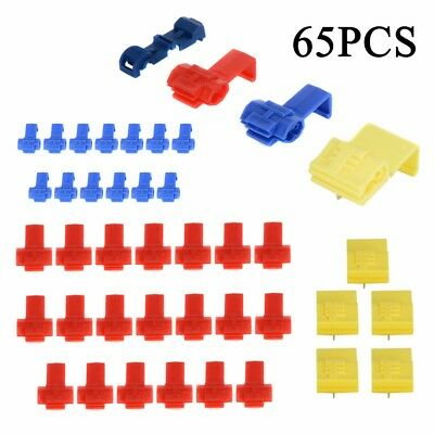 65Pcs Quick Splice Crimp Wire Connector Electrical Cable Lock Terminal With Box