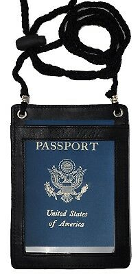 Leather RFID Blocking Travel Passport Wallet Holder Neck Pouch Safe Phone Bag