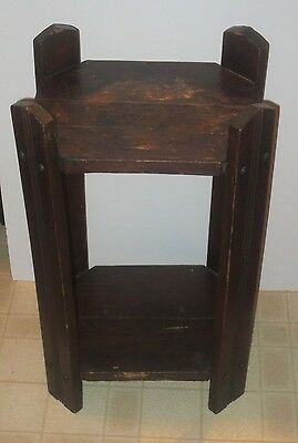 Antique Arts And Crafts Mission Oak Plant Stand Or Lamp Table
