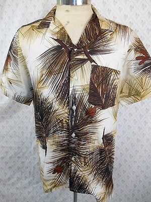 Vintage 1970s Bisley Short Sleeve Polyester Brown Cream Tiki Resort Shirt M