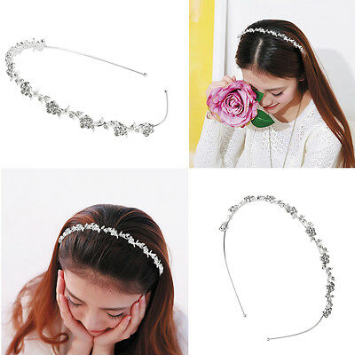 Women Girls Jewelry Alloy Rhinestone Flower Headband Head Piece Hair band Hoop