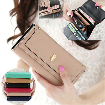UK Large Capacity Purse Clutch Wallet Car Holder Case Coin Set PU Leather Womens