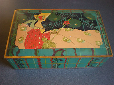 1920s Vintage Candy Tin Box  ART DECO Canco Hinged Lady Flapper