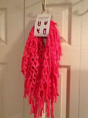 NWT Girl's Bright Pink Loop Scarf One Size