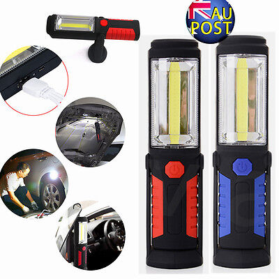 Magnetic LED COB Inspection Lamp Work Light Rechargeable USB Torch Flashlight