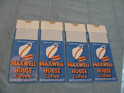 4 Vintage Nos Maxwell House Regular Grind Coffee 1 Lb Pound Paper Bags