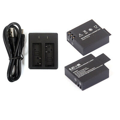 2 Pcs 900mAh Li-ion Battery for SJCAM SJ4000 SJ5000 SJ6000 Dual Charger Braw