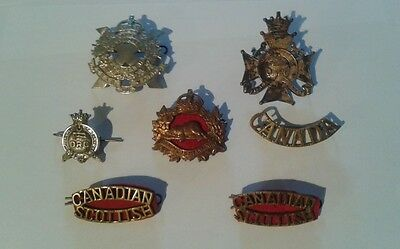 Lot of 7 Vintage WW2 Canadian Military Badges