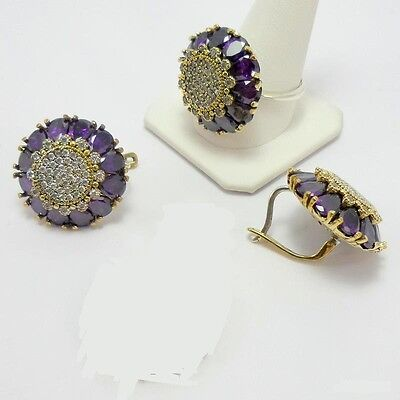 Sterling 925 Silver Jewelry Handmade Brazil Purple Amethyst Earrings & Ring Set