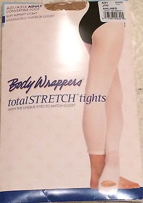 Body Wrappers Size Small Adult Convertible Foot STRETCH DANCE Tights Tan A31 NEW