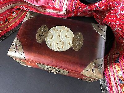 Old Chinese Redwood Jewelry Box with Lock & Key (a) …beautiful for the dresser