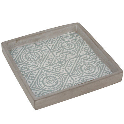 Timber Frame Look Aqua Mosaic Square Cement Tray Servingware Decoration W20cm
