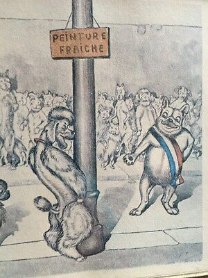 Boris O'Klein Dirty Dogs of Paris L'inauguration Unusual Colored Lithograph Vint
