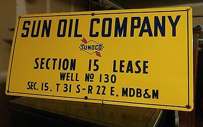 Nice Vintage Sunoco Porcelain Oil Well Lease Gas Sign.