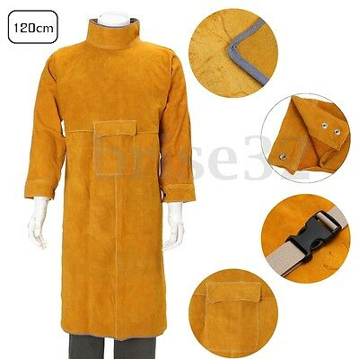 120cm Leather Welding Long Coat Apron Protective Clothing Apparel Suit Welder