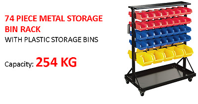 74 pcs Mobile Garage Storage Bins Rack Parts Nuts Bolts LEGO organizer