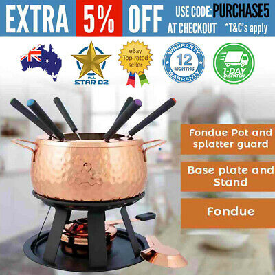 Chocolate Cheese Fondue Set 6 forks Stainless Steel Copper Plated New Swissman
