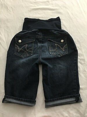 Women's Indigo Blue Jeans Maternity Bermuda Shorts Stretch Size L
