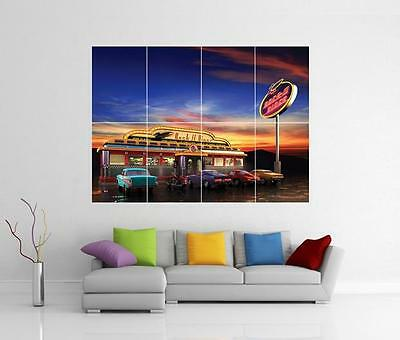 American Diner Retro Chevy Giant Wall Art Photo Picture Print Poster