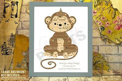 Personalised Monkey Nursery Thank You Picture Print Gift Leaving Present