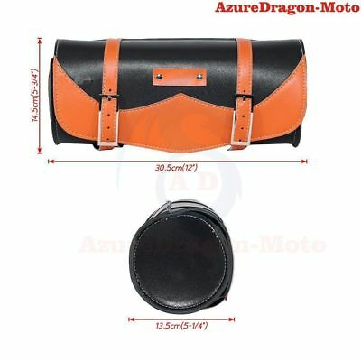Motorcycle PU Leather Front Forks Tool Bag Saddlebag Storage For Harley Custom