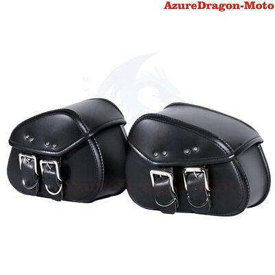 2X Black Motorcycle PU Leather Side Saddle Bag luggage For Harley Sportster XL