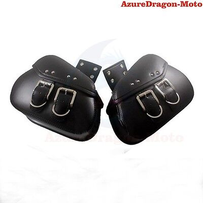 PU Leather Motorcycle Saddlebags Luggage Bags Pouch For Harley Custom