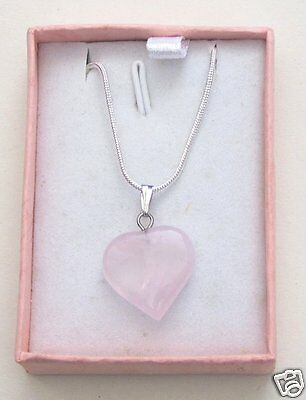 "Rose Quartz Heart Pendant Necklace with 18"" Silver Plated Chain and Gift Box"