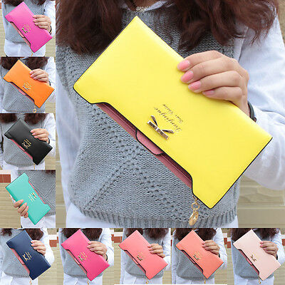 1pcs New Bow Tie Lady Women Clutch Long Leather Wallet Card Holder Case Leather