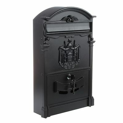 AF Heavy Duty Black Aluminium Lockable Secure Mail Letter Post Box