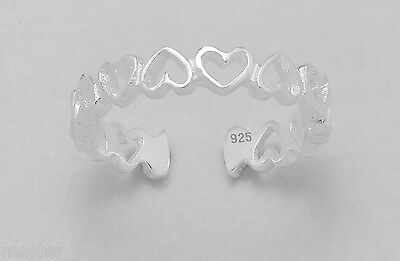 TJS 925 Sterling Silver Toe Ring Adjustable Band of Hollow Love Hearts Design