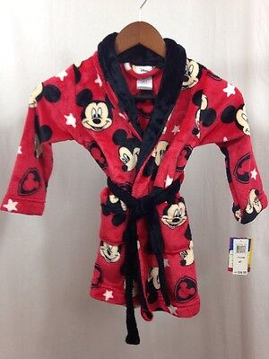 Disney's Mickey Mouse Red Long Sleeve Plush Robe Child Sz 4T Extra Small ~ New