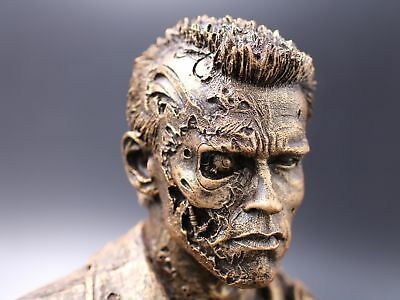 "Terminator T800 Polystone Bust Statue Figure Battle Damage 4"" Bronze & Unpainted"
