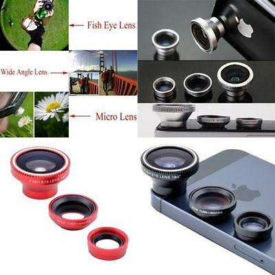 Wide Angle 180° Fish Eye Macro Clip Camera Lens Kit For iPhone Mobile Phone N7