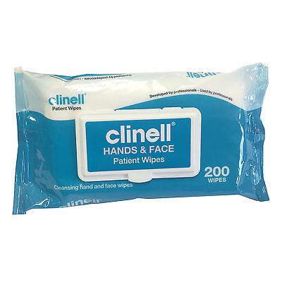 1 x Clinell 200 Hands and Face Cleansing Fresh Patient Packet Multi Wipes