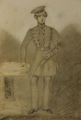 English School 19th Century Graphite Drawing - Young Officer