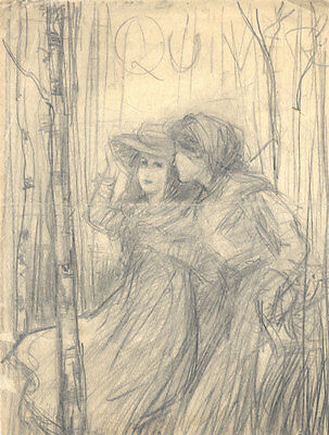 Early 20th Century Graphite Drawing - Portrait of a Boy and Girl