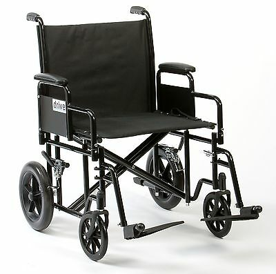 "Heavy duty bariatric steel transit wheelchair extra wide 22"" seat"