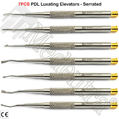 Set of 7 PDL Luxating Root Elevators Dental Implant Instruments Micro Serrated