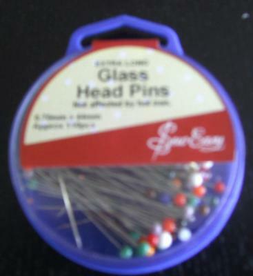 GLASS HEAD EXTRA LONG PINS .70MM x 44MM  BOX OF 110 FOR SEWING OR QUILTING