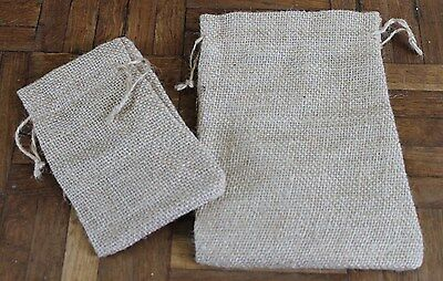2 Natural Sack Cloth Drawstring Pouch Gift Bags * 2 sizes 14cm or 19cm