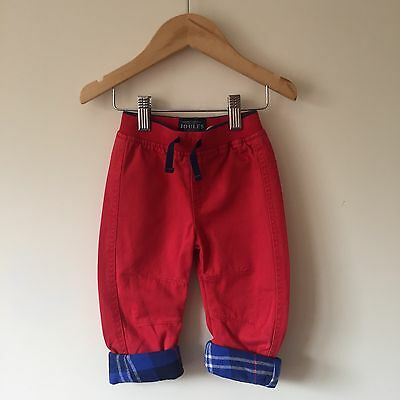 BNWT JOULES Baby Boy Trousers Red Turn Up Tartan Checked 6-9 Months
