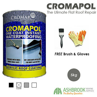 Cromapol | Acrylic Roof Coat | Roof Sealant | 4 Packs | FREE Brush and Gloves