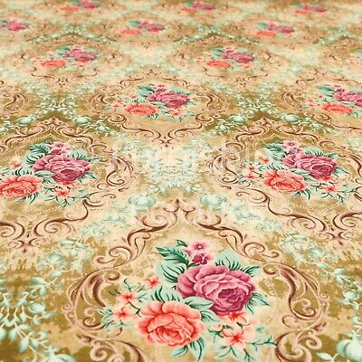 Quality Shiny Floral Printed Pattern Gold Velvet Upholstery Furnishing Fabric