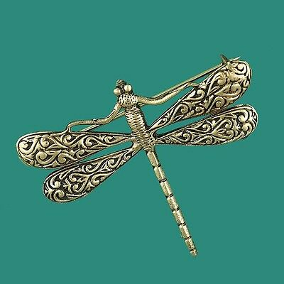 Vintage Inspired Gold Dragonfly Brooch - Pin on a Scarf or Jacket